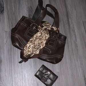 Brown Coach Purse w/small Wallet & Scarf